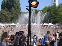 The fountains were going during Folklife in Seattle Center