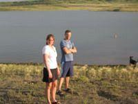 Blurry pic of Mike and Krystal at Ft. Peck Lake